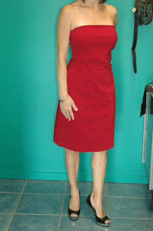 61fe1877b33 WORN ONCE  75.00. Picture.  EQUIPMENT  RED BOOBTUBE COCKTAIL DRESS SIZE 14   50.00